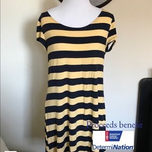 Navy Blue and Yellow T-shirt Dress